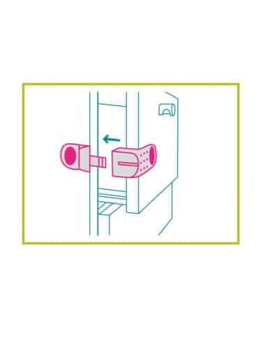 Accessoire de sécurité enfant - bloque placard angle rigide