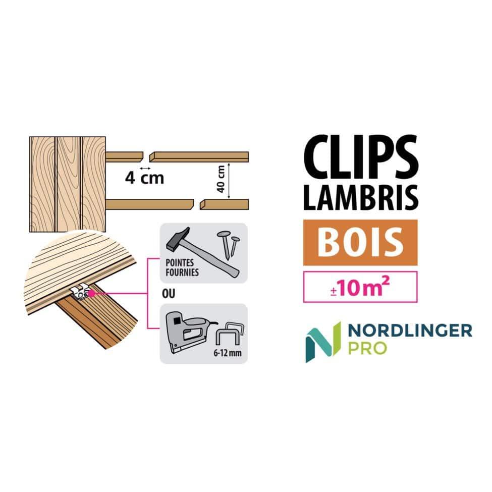 Clips Lambris Bois 4mm