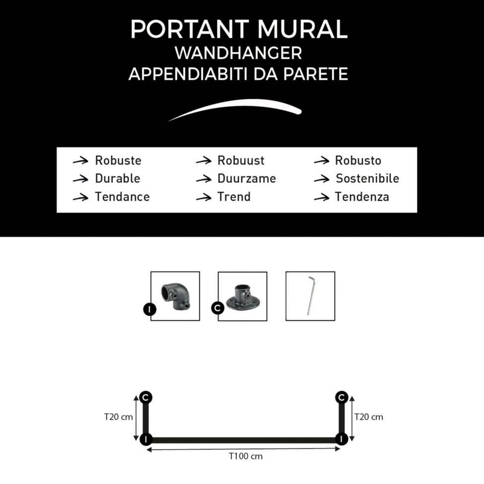 T-Connect-portant-vêtement-mural-composition-du-kit