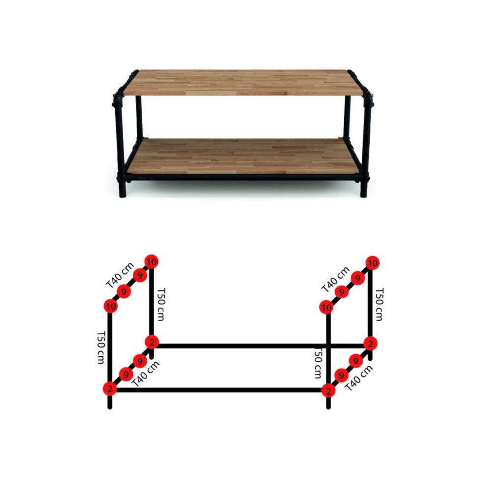 Dimensions meuble table basse industrielle