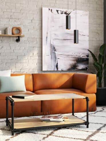 Table basse industrielle dans salon