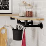Etagère portant métal et bois dans cuisine