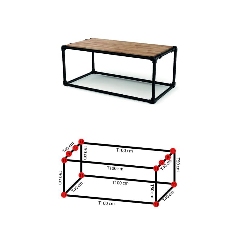 Dimensions du meuble d'appoint industriel