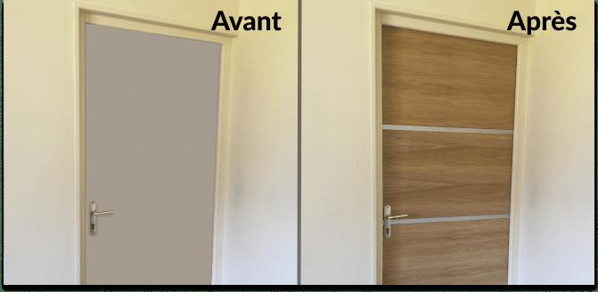 Rénovation : placage bois pour porte