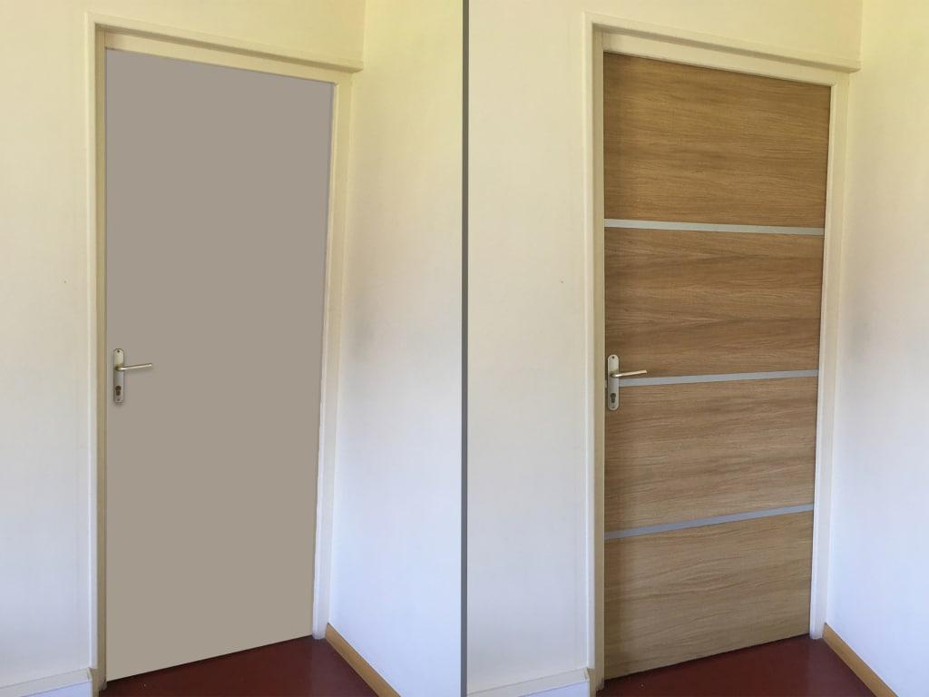 Avant et après la rénovation de porte